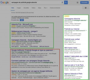 Barre latérale Google Adwords