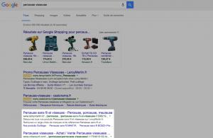 Les résultats de recherche Google